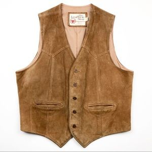 The Leather Shop Leather Suede Brown Vest 42 L/XL